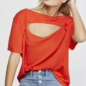NWT Free People Rome Red June Cutout SS T-Shirt XS
